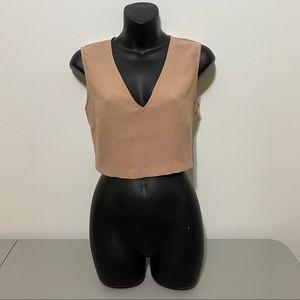 Zara Basic Nude V neck Crop Top Size Small